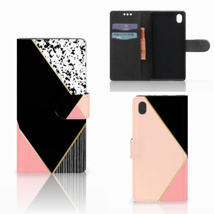 Sony Xperia M4 Aqua Bookcase Zwart Roze Vormen