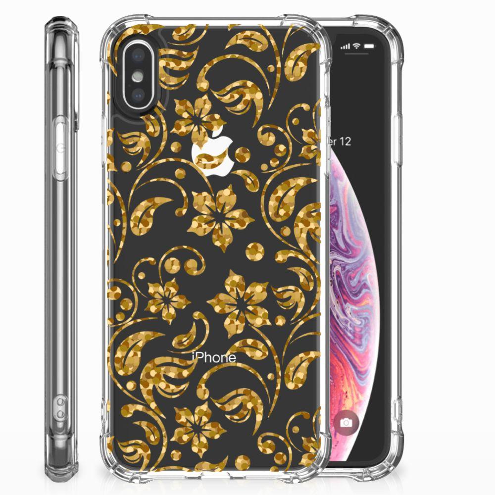 Apple iPhone X | Xs Case Gouden Bloemen