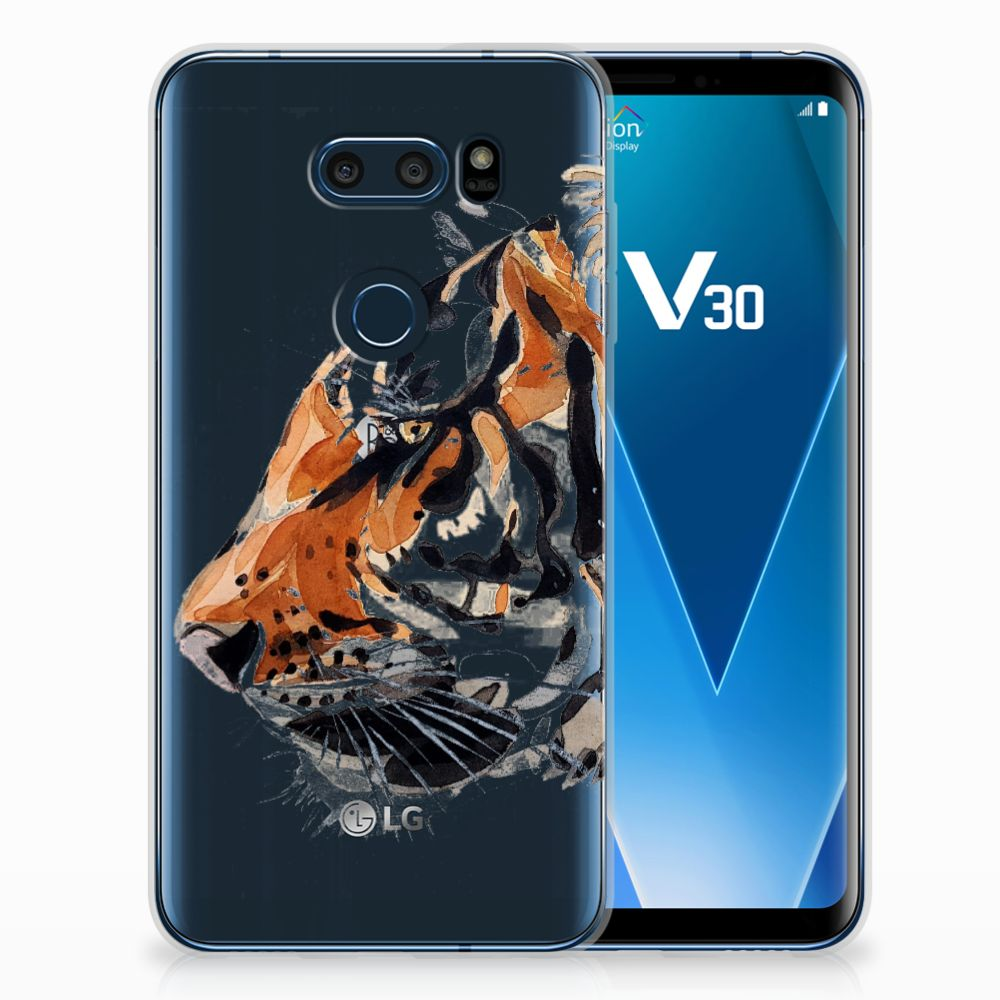 LG V30 Uniek TPU Hoesje Watercolor Tiger
