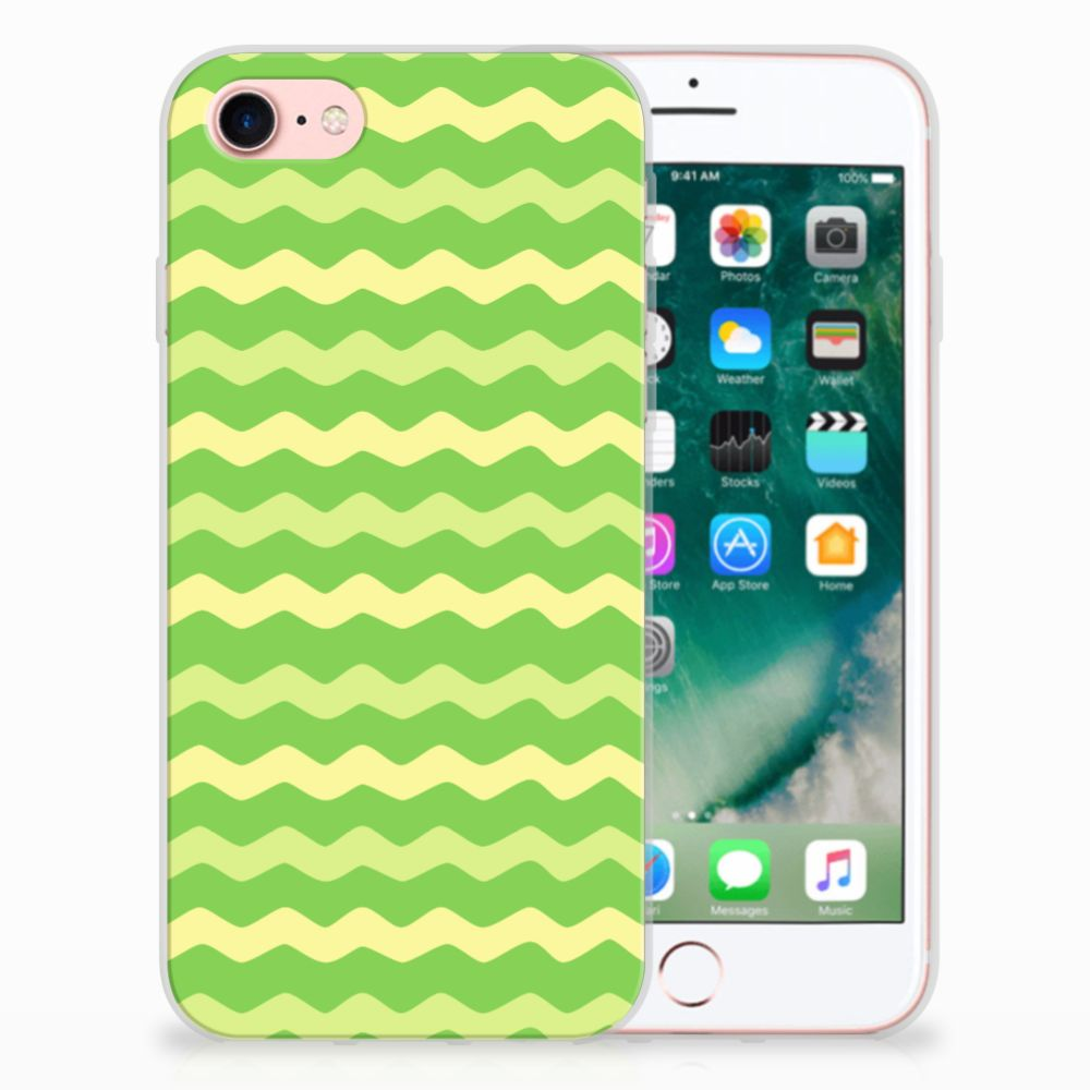 Apple iPhone 7 | 8 TPU Hoesje Design Waves Green