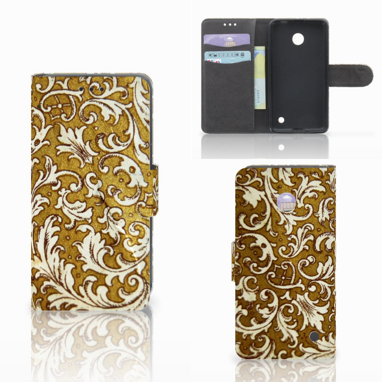 Wallet Case Nokia Lumia 630 Barok Goud