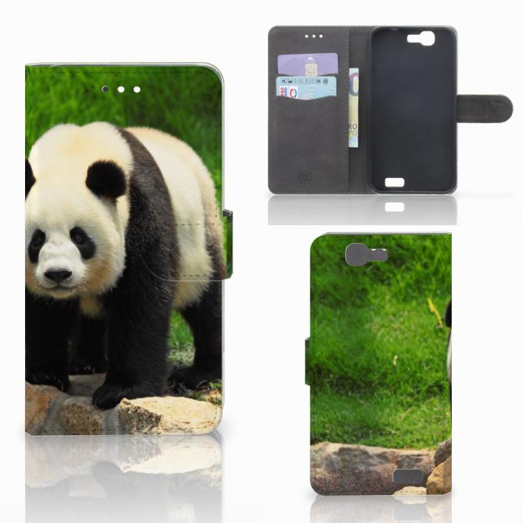 Huawei Ascend G7 Telefoonhoesje met Pasjes Panda
