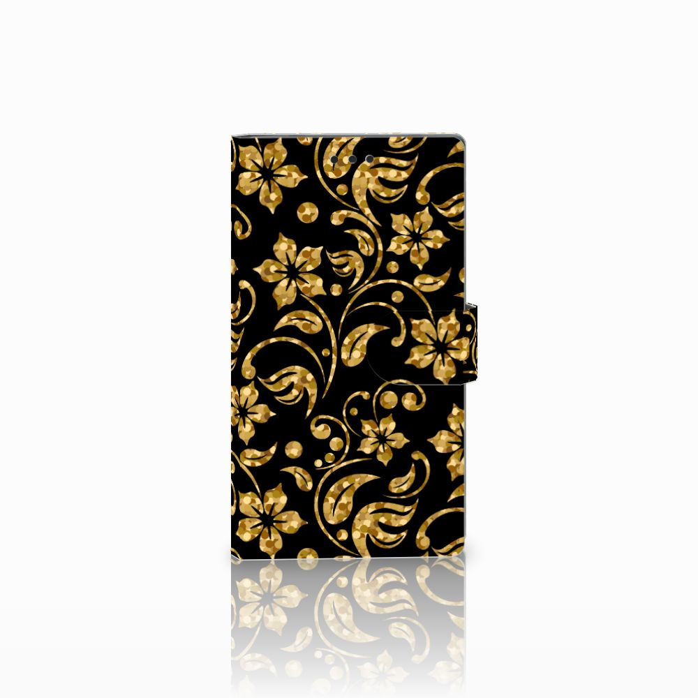 Sony Xperia L2 Boekhoesje Design Gouden Bloemen