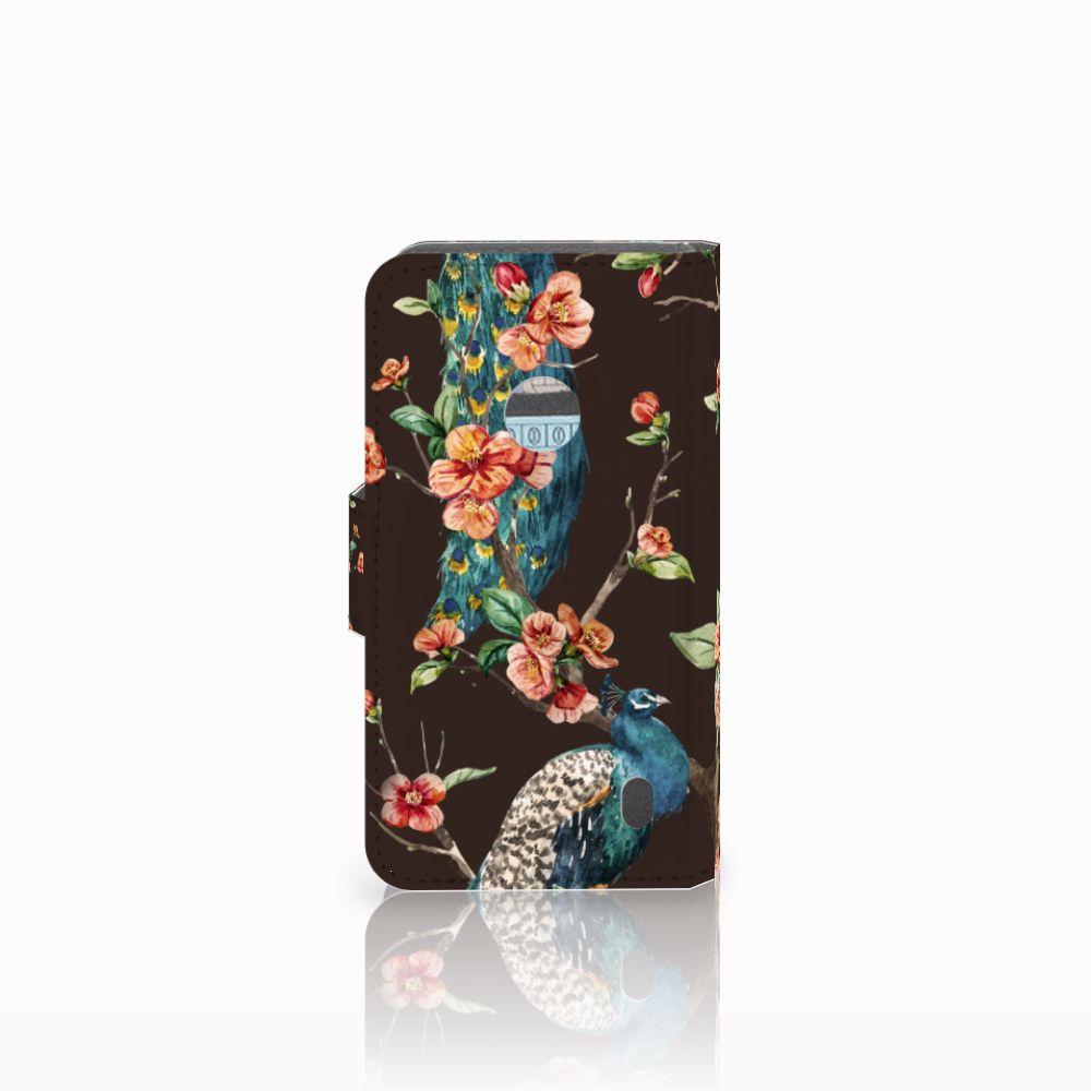 Nokia Lumia 520 Telefoonhoesje met Pasjes Pauw met Bloemen