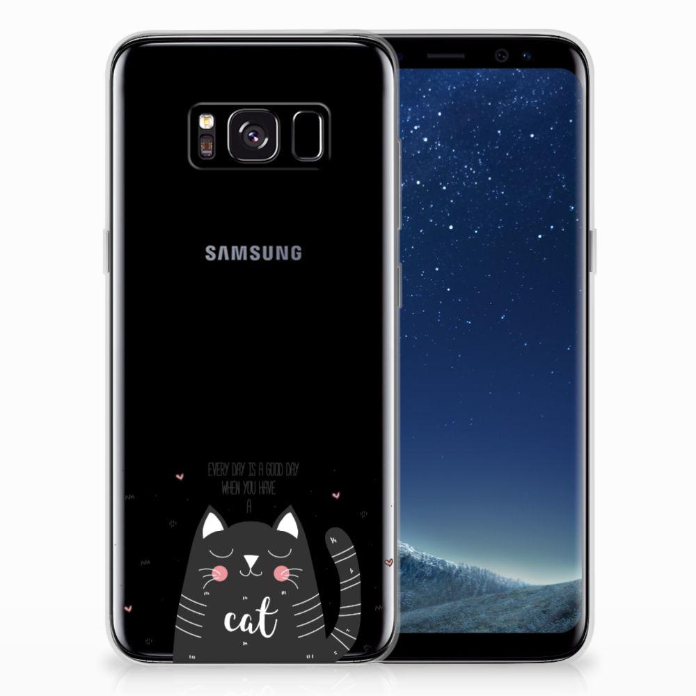 Samsung Galaxy S8 Telefoonhoesje met Naam Cat Good Day