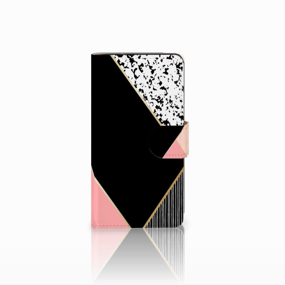Samsung Galaxy J2 (2015) Uniek Boekhoesje Black Pink Shapes