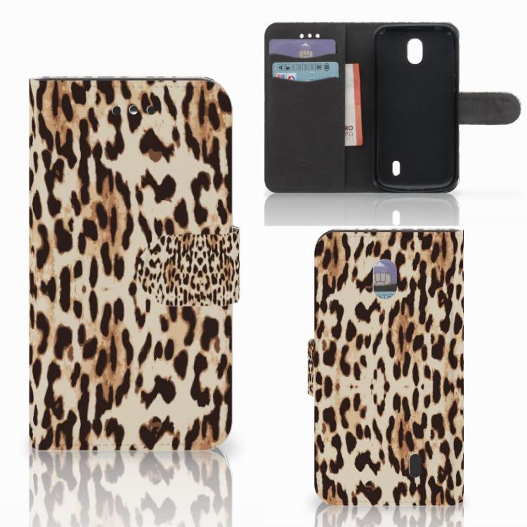 Nokia 1 Telefoonhoesje met Pasjes Leopard