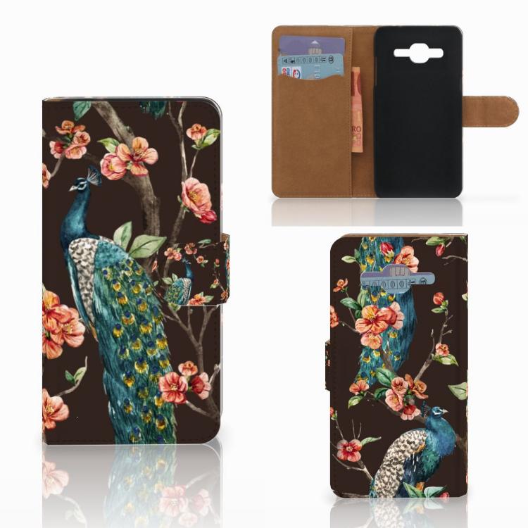Samsung Galaxy J2 2016 Telefoonhoesje met Pasjes Pauw met Bloemen