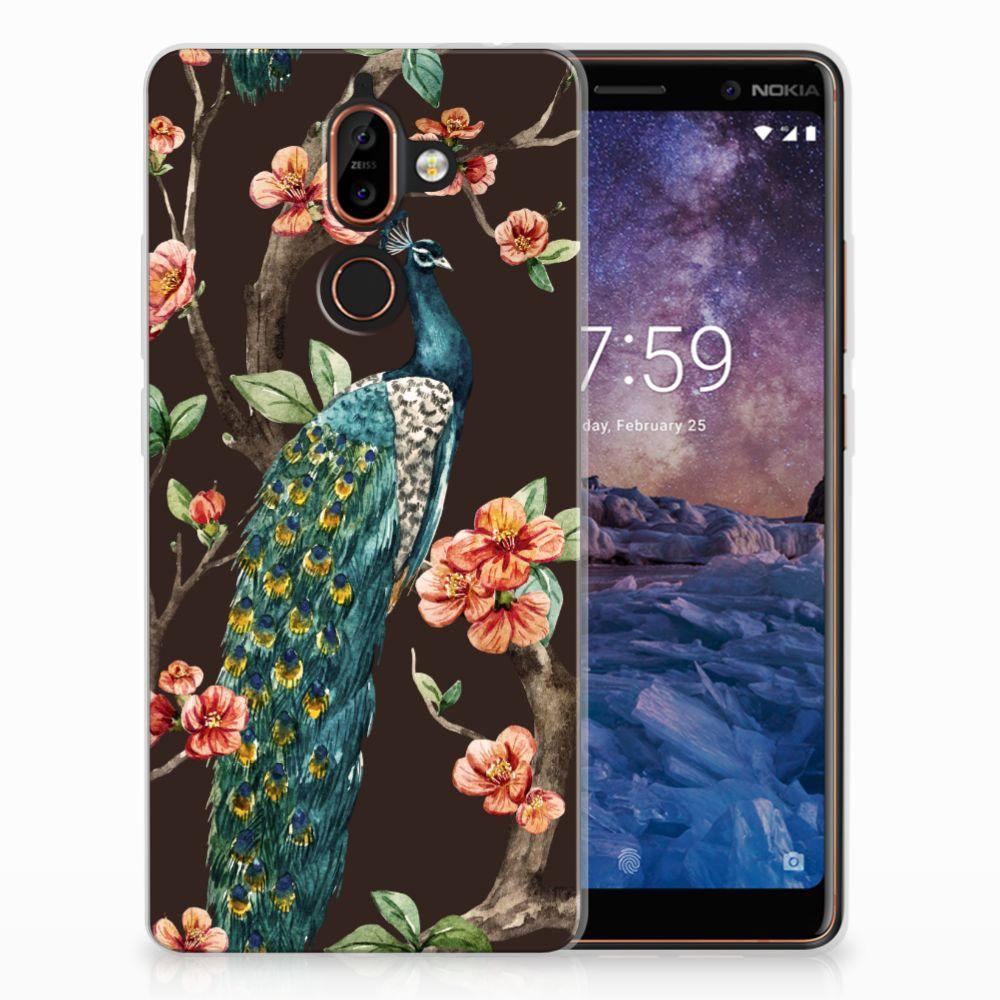 Nokia 7 Plus TPU Hoesje Design Pauw met Bloemen