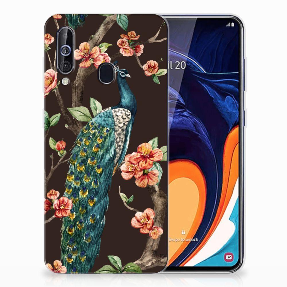 Samsung Galaxy A60 TPU Hoesje Pauw met Bloemen