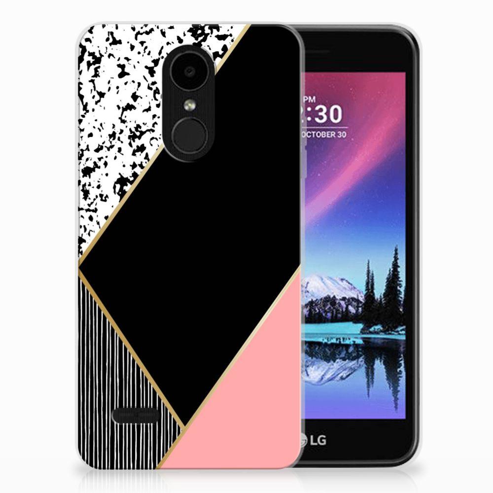 LG K4 (2017) TPU Hoesje Zwart Roze Vormen