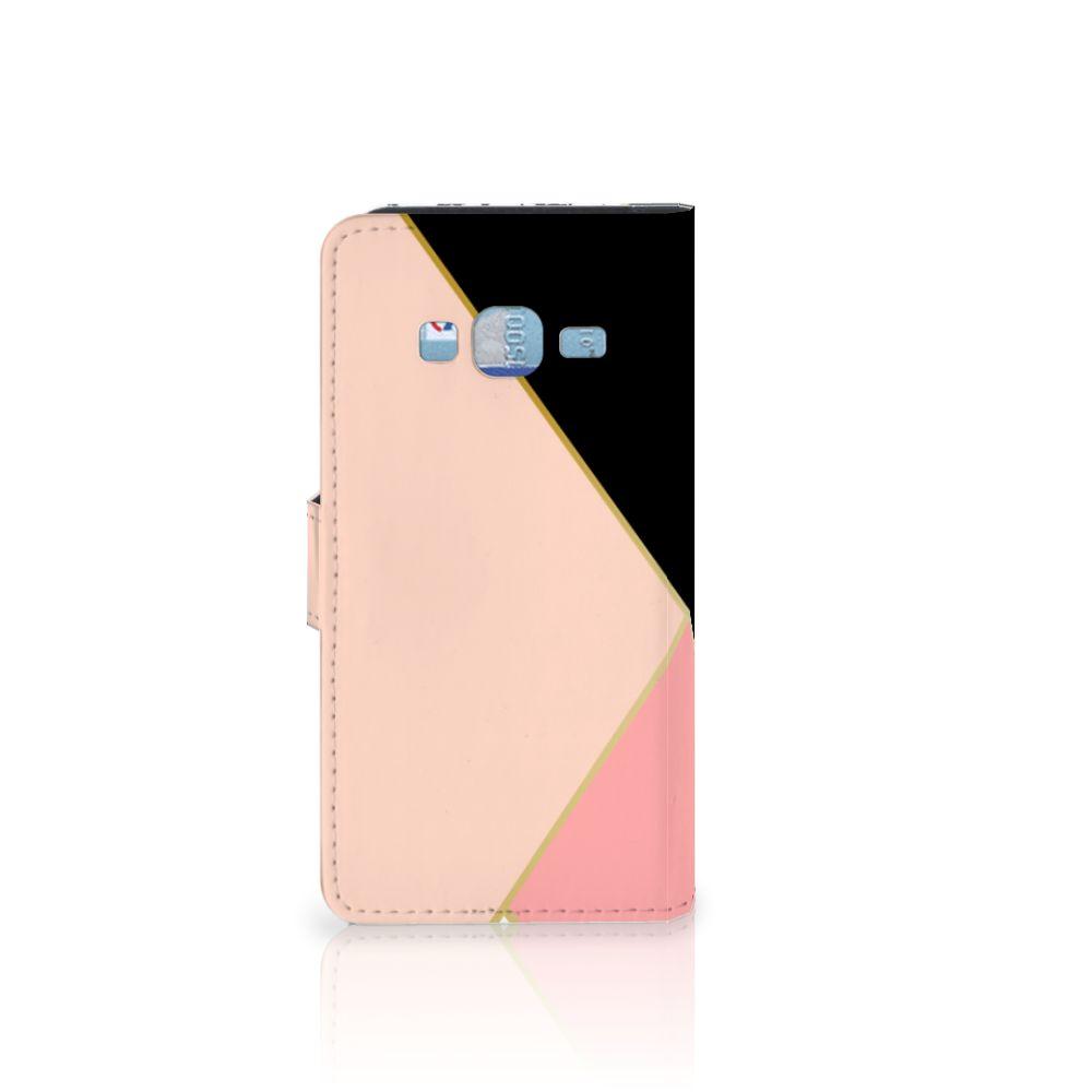 Samsung Galaxy J3 2016 Bookcase Zwart Roze Vormen