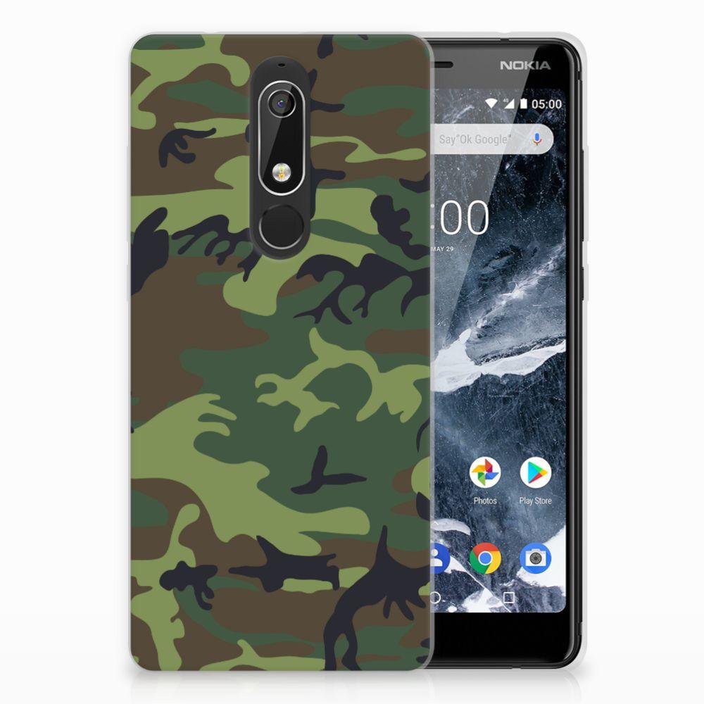 Nokia 5.1 (2018) TPU Hoesje Design Army Dark