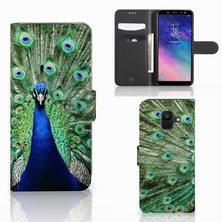 Samsung Galaxy A6 2018 Telefoonhoesje met Pasjes Pauw