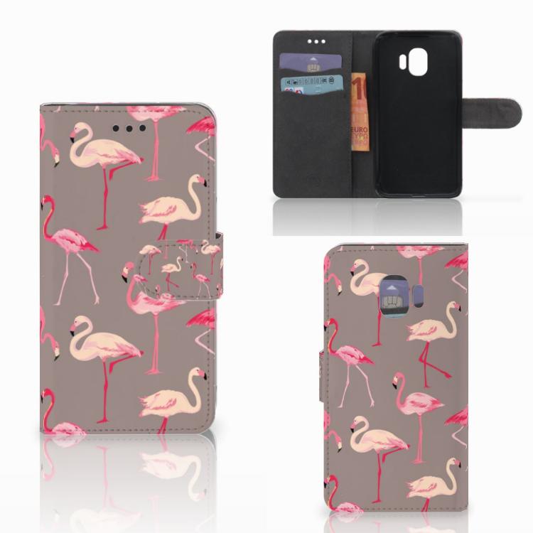 Samsung Galaxy J2 Pro 2018 Telefoonhoesje met Pasjes Flamingo