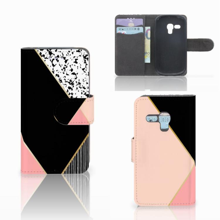 Samsung Galaxy S3 Mini Bookcase Zwart Roze Vormen
