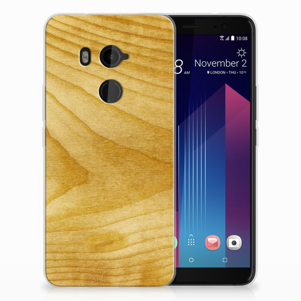 HTC U11 Plus Uniek TPU Hoesje Licht Hout
