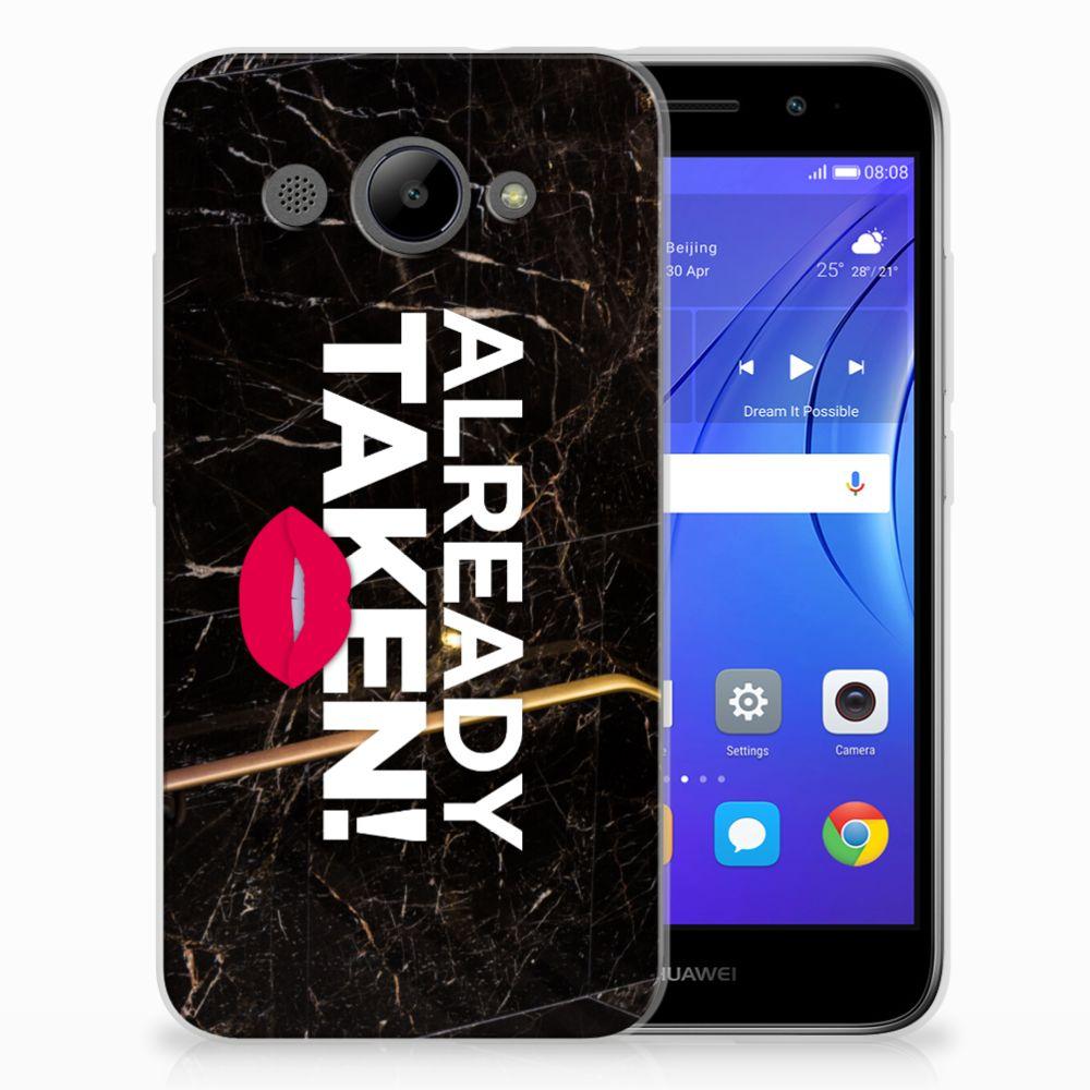 Huawei Y3 2017 TPU Hoesje Design Already Taken Black