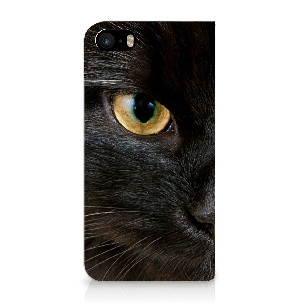 iPhone SE|5S|5 Uniek Standcase Hoesje Zwarte Kat