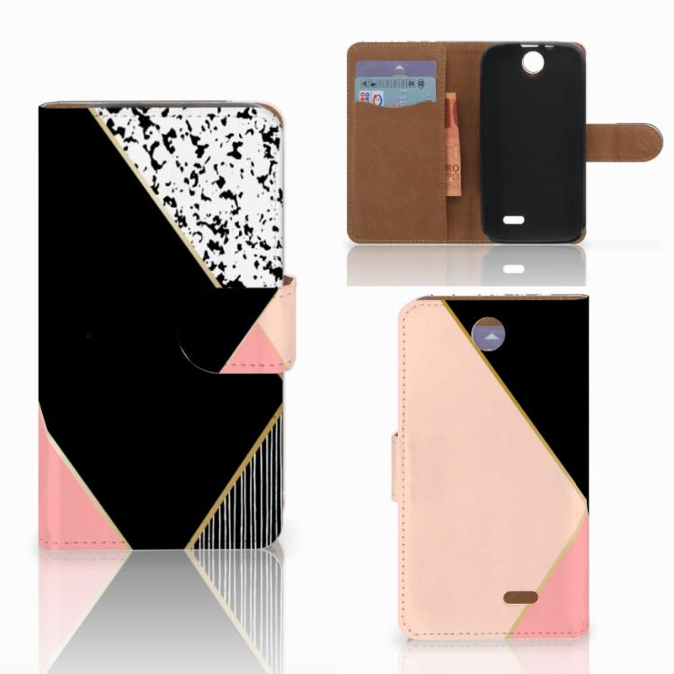 HTC Desire 310 Bookcase Zwart Roze Vormen