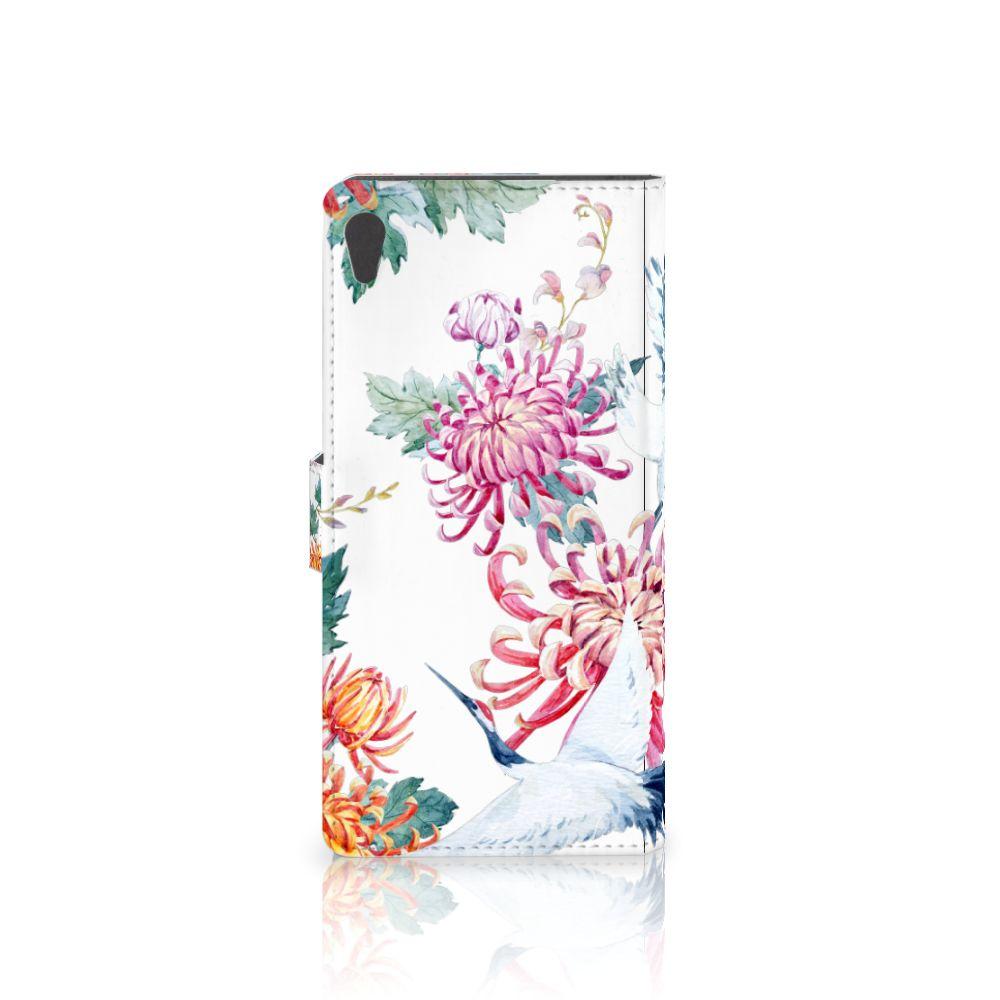 Sony Xperia XA Ultra Telefoonhoesje met Pasjes Bird Flowers
