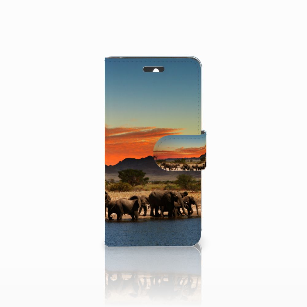 Huawei Ascend Y550 Telefoonhoesje met Pasjes Olifanten