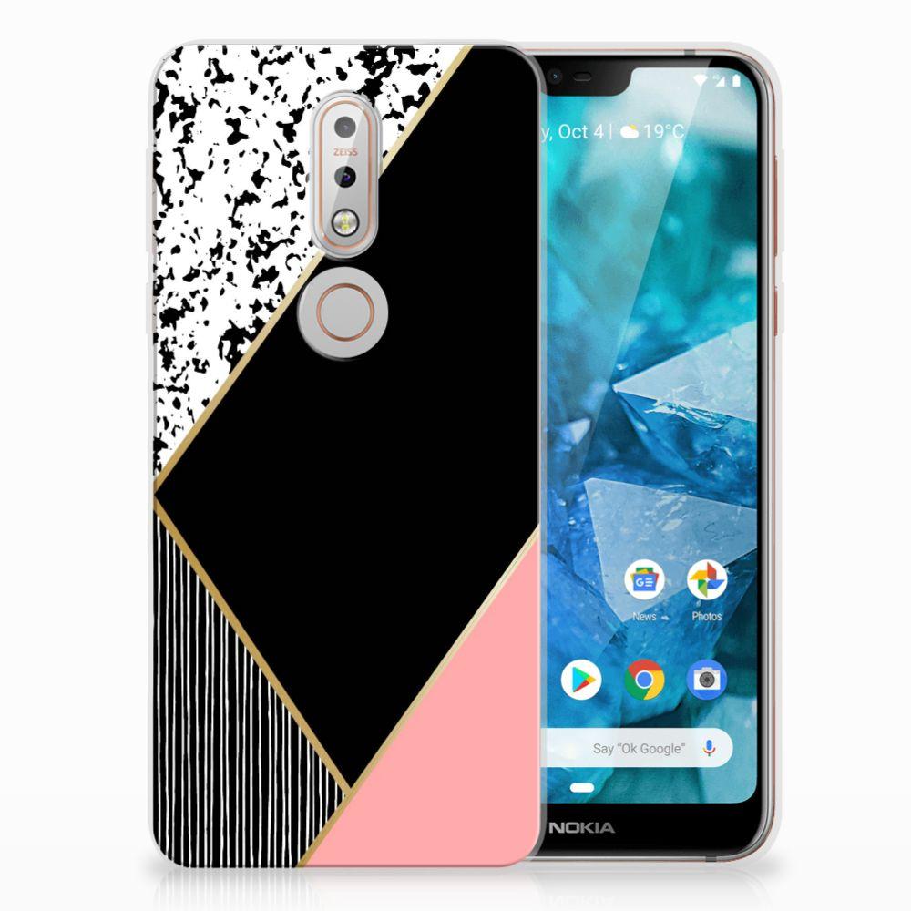 Nokia 7.1 Uniek TPU Hoesje Black Pink Shapes