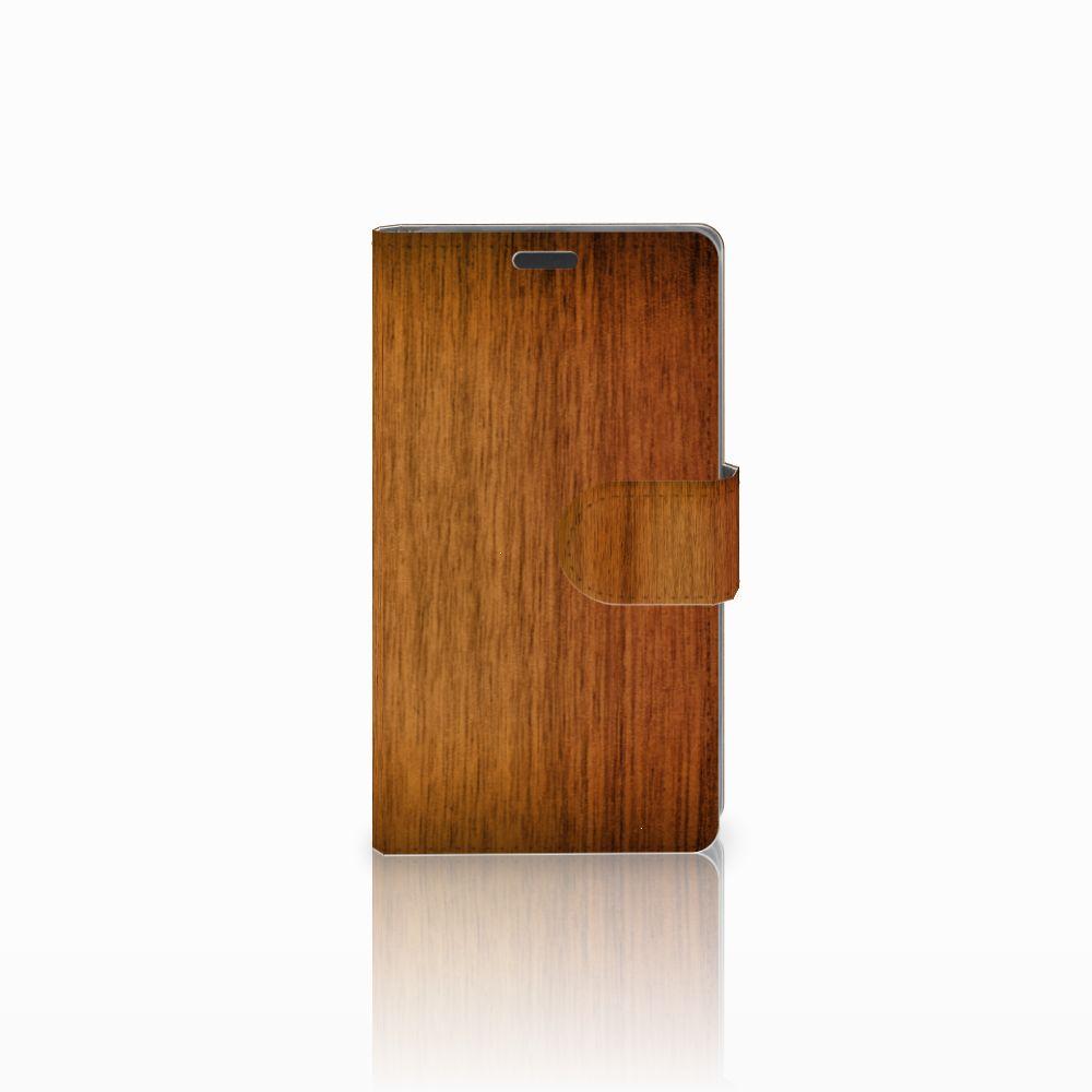 Nokia Lumia 625 Uniek Boekhoesje Donker Hout