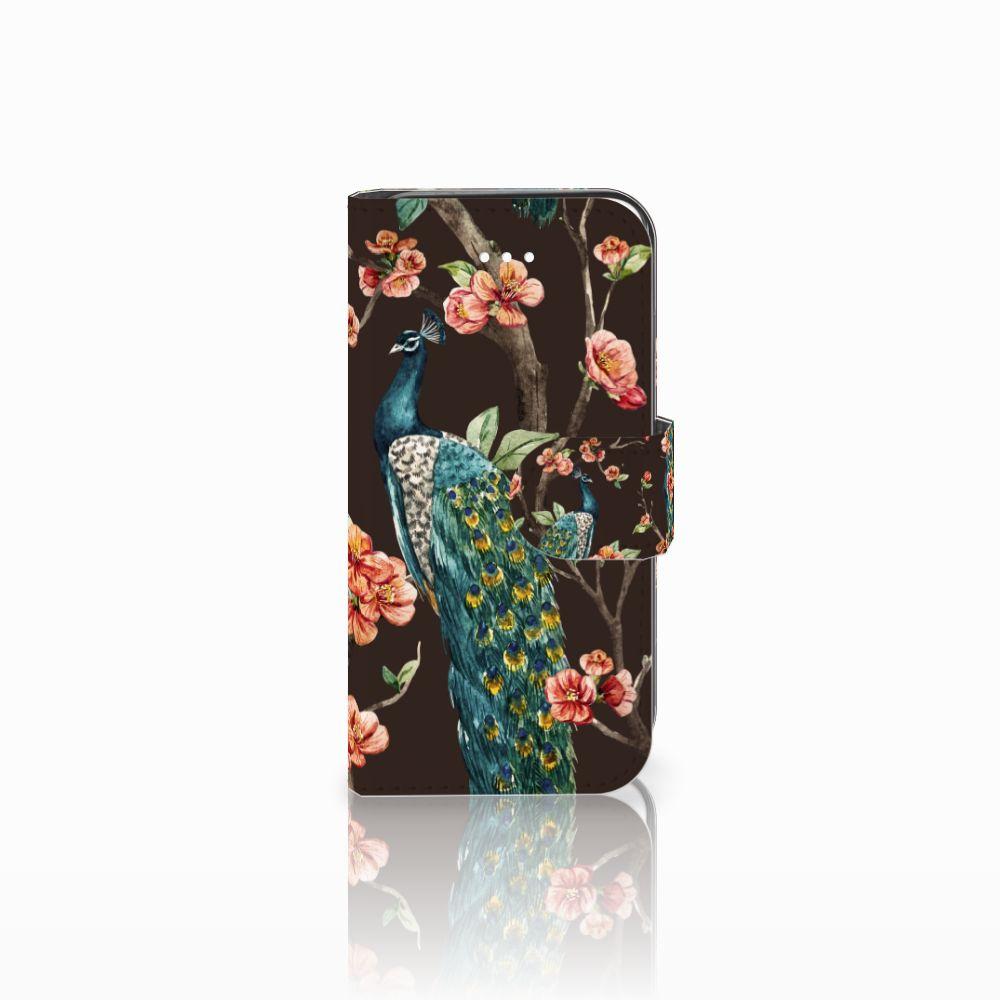 Apple iPhone 5 | 5s | SE Boekhoesje Design Pauw met Bloemen