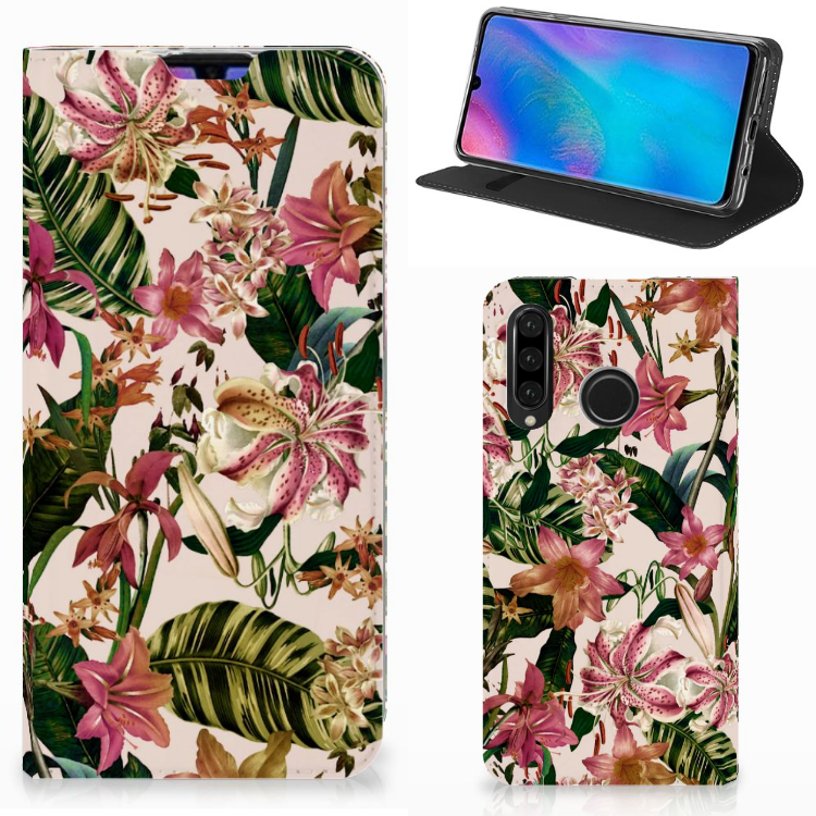 Huawei P30 Lite Smart Cover Flowers