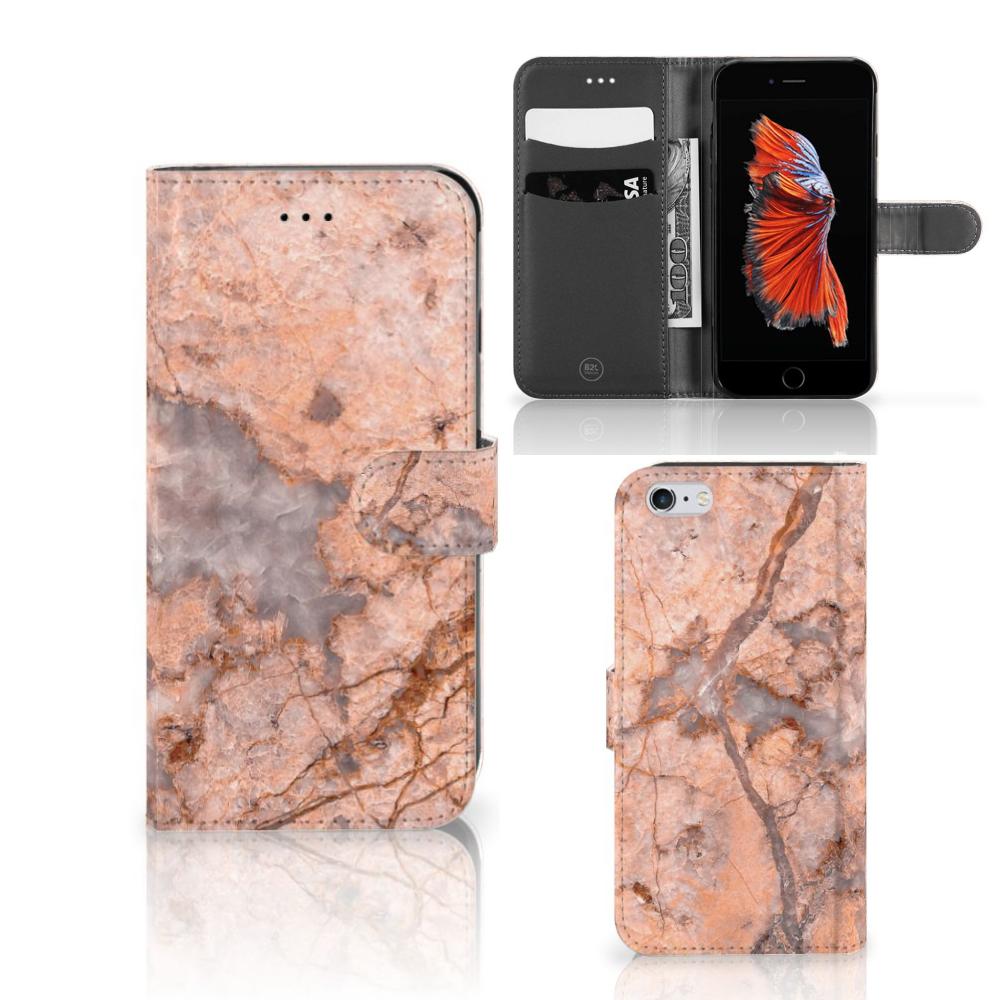 Apple iPhone 6 Plus | 6s Plus Bookcase Marmer Oranje