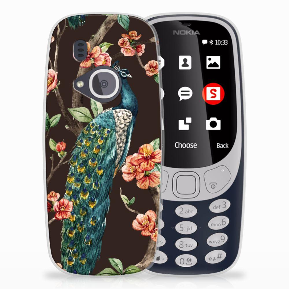 Nokia 3310 (2017) TPU Hoesje Pauw met Bloemen