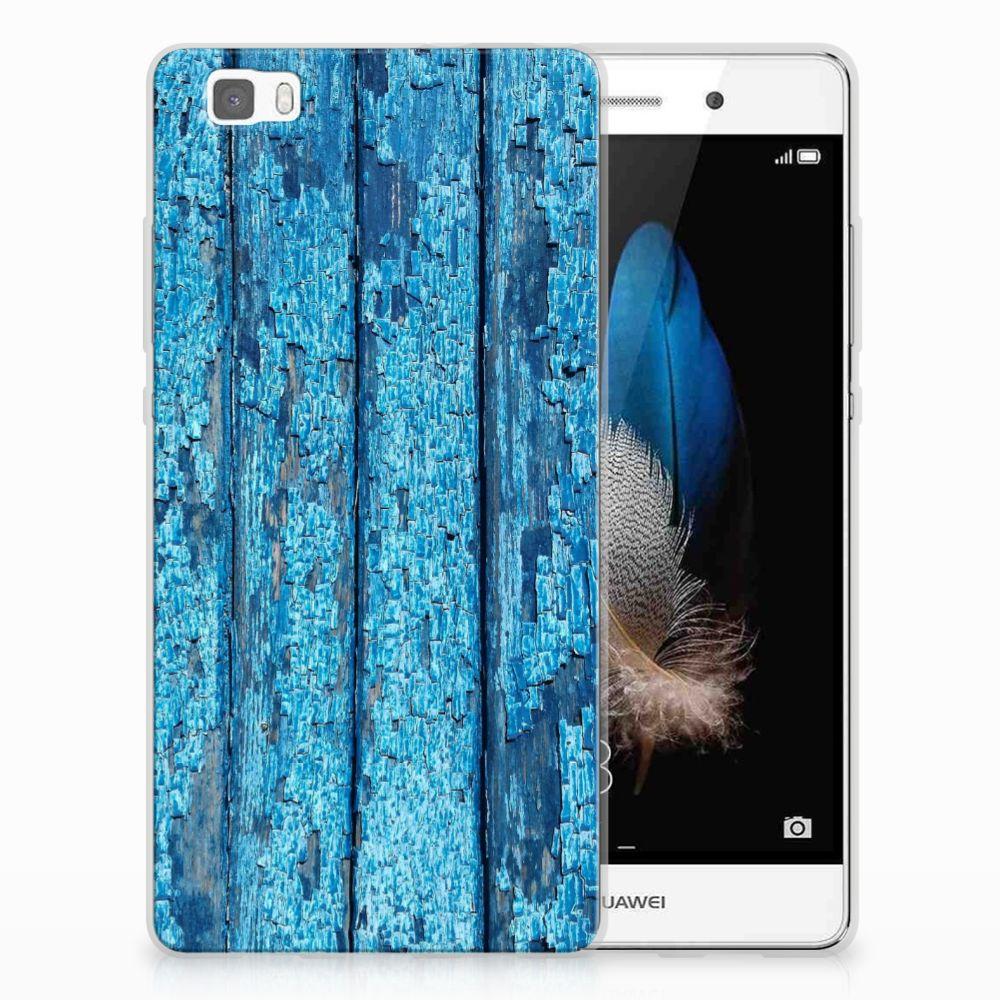 Huawei Ascend P8 Lite Bumper Hoesje Wood Blue