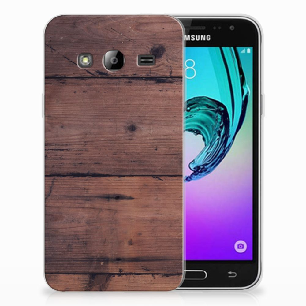 Samsung Galaxy J3 2016 Uniek TPU Hoesje Old Wood