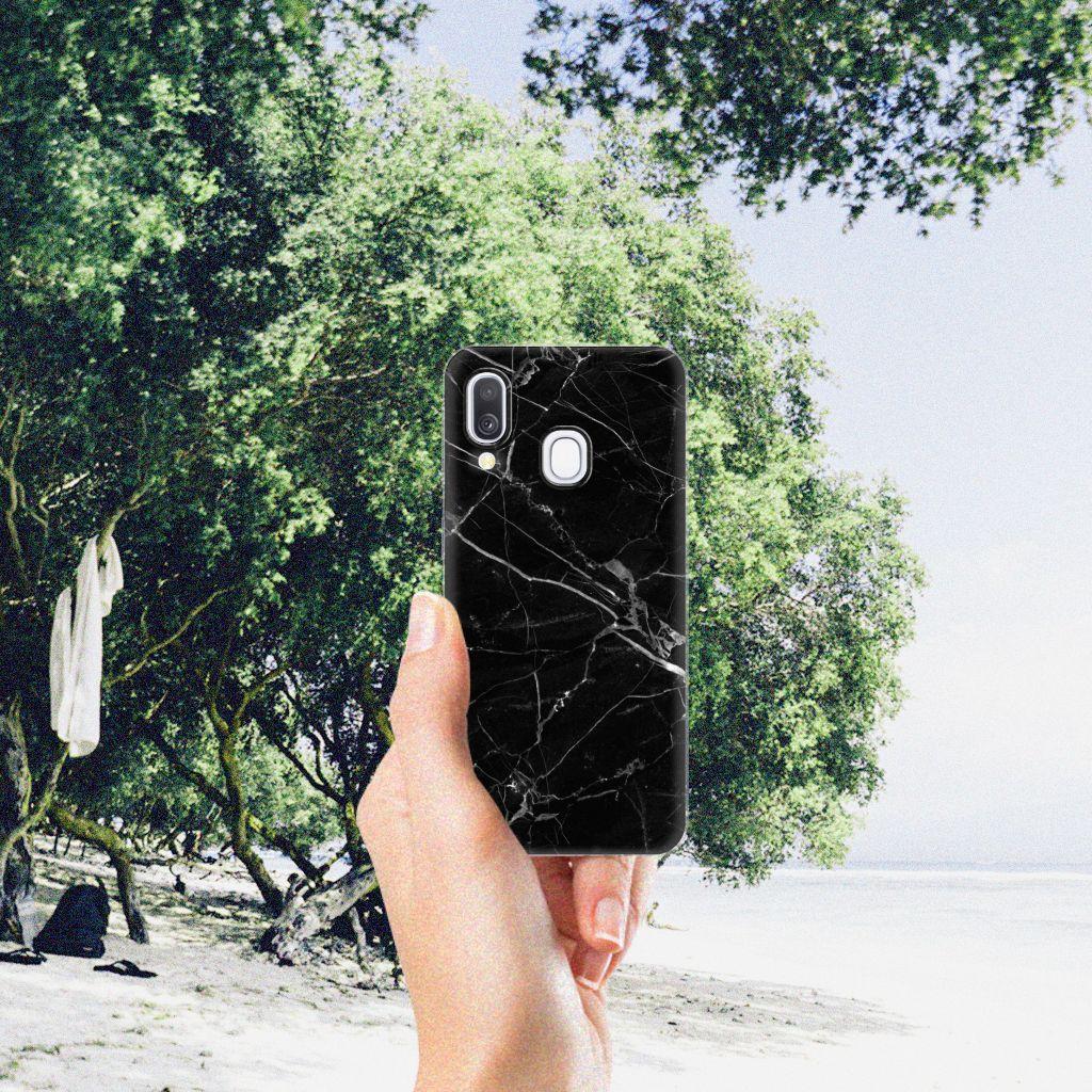 Samsung Galaxy A40 TPU Siliconen Hoesje Marmer Zwart - Origineel Cadeau Vader