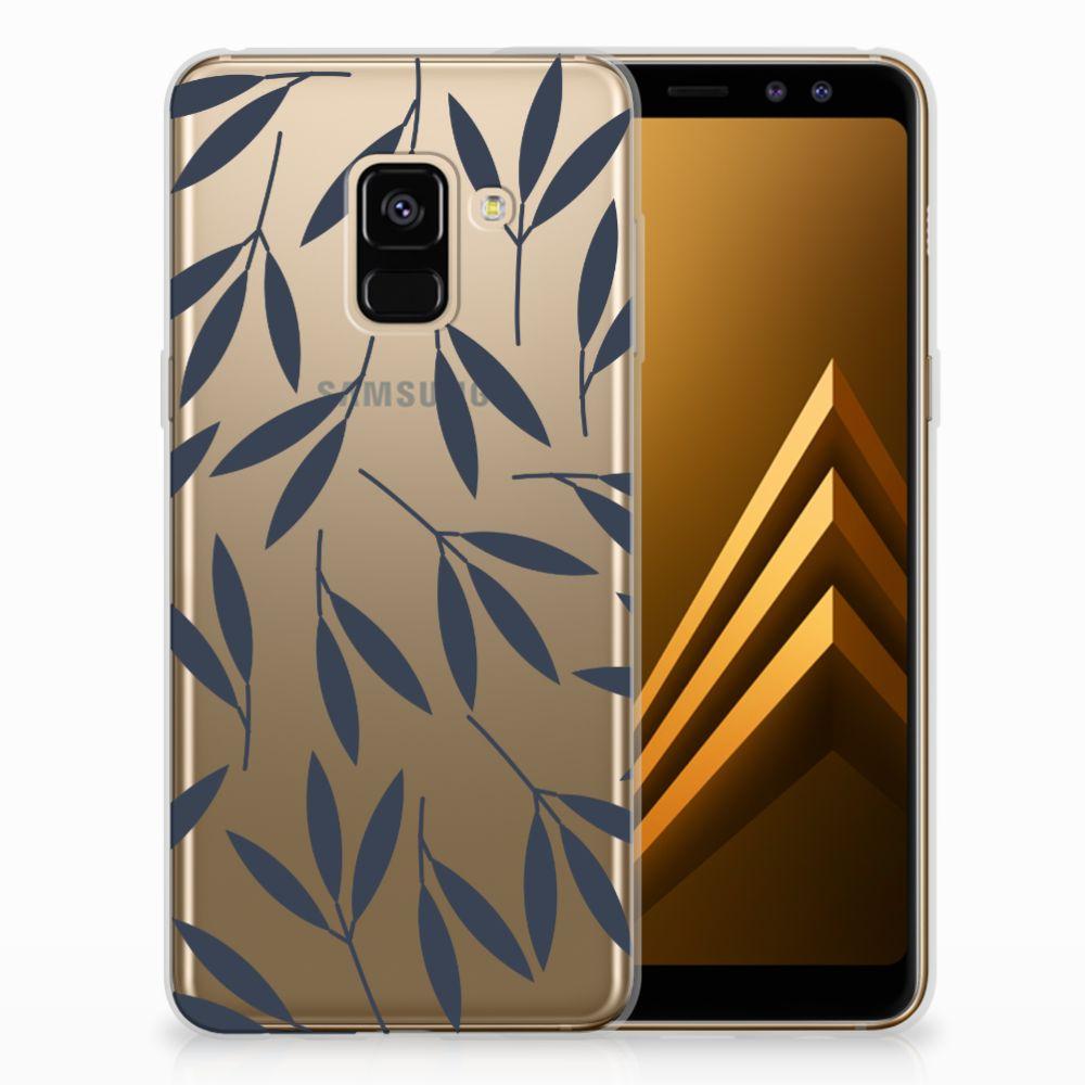 Samsung Galaxy A8 (2018) TPU Hoesje Design Leaves Blue