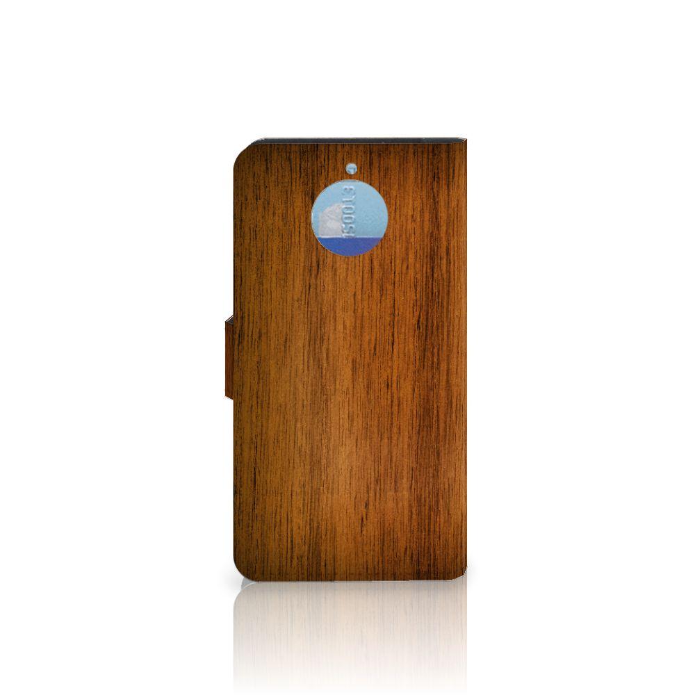 Motorola Moto G5S Plus Book Style Case Donker Hout