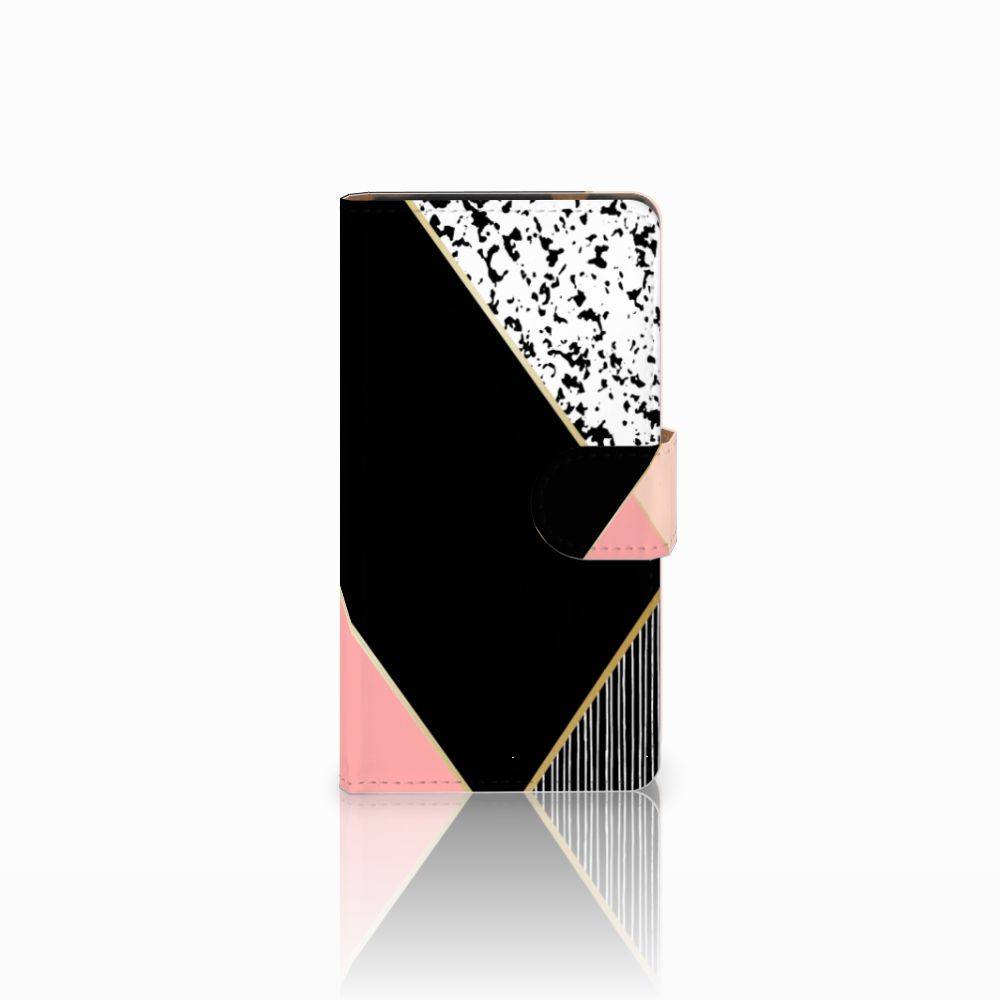 HTC Desire 601 Uniek Boekhoesje Black Pink Shapes