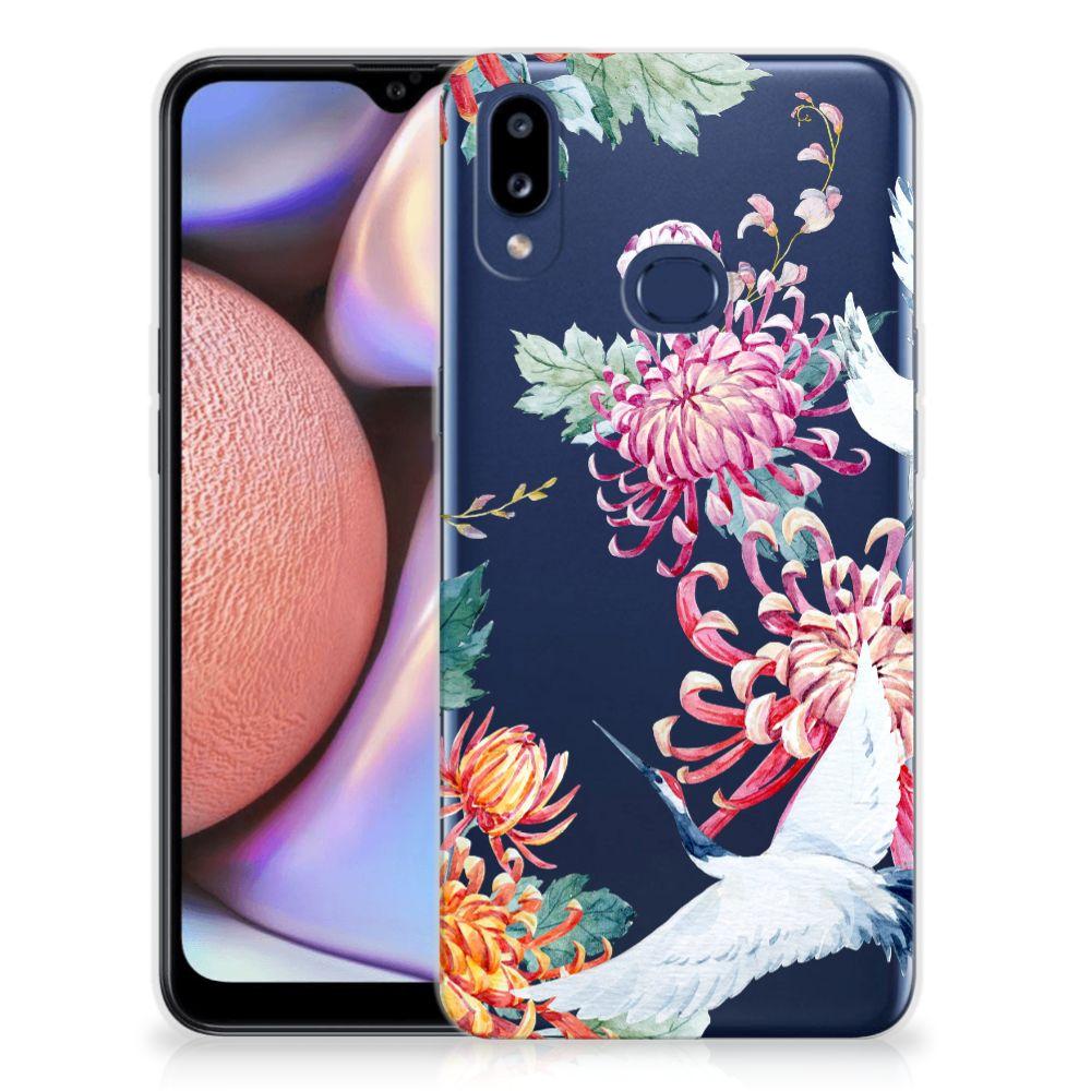 Samsung Galaxy A10s TPU Hoesje Bird Flowers