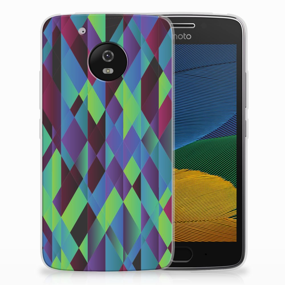 Motorola Moto G5 TPU Hoesje Abstract Green Blue