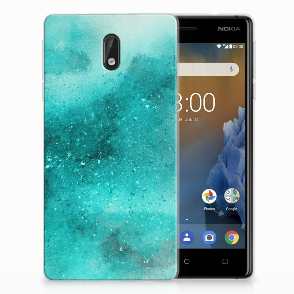 Nokia 3 Uniek TPU Hoesje Painting Blue