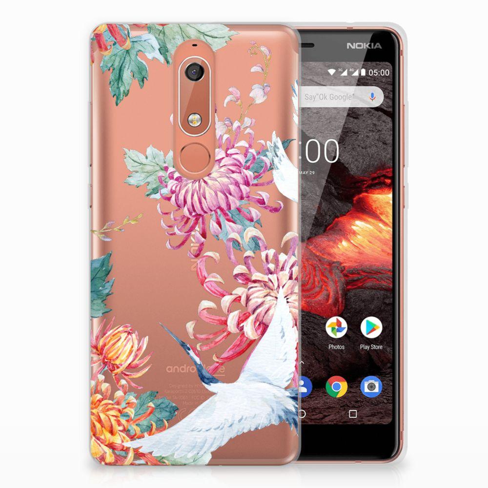 Nokia 5.1 (2018) TPU Hoesje Bird Flowers