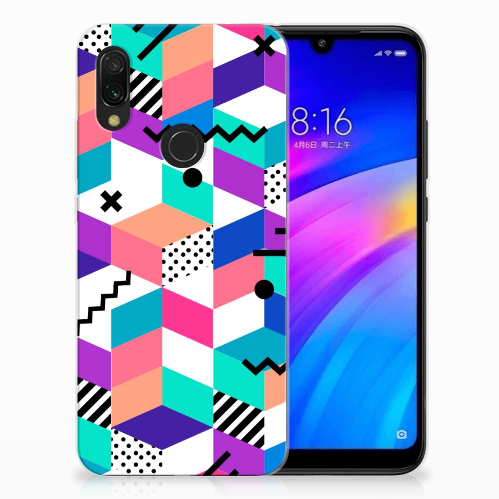 Xiaomi Redmi 7 TPU Hoesje Blokken Kleurrijk
