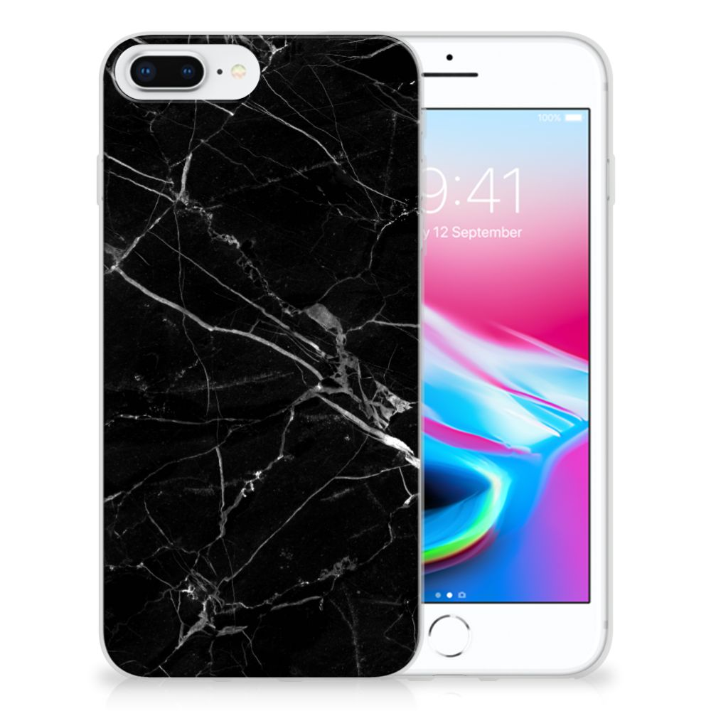 Apple iPhone 7 Plus | 8 Plus Uniek TPU Hoesje Marmer Zwart
