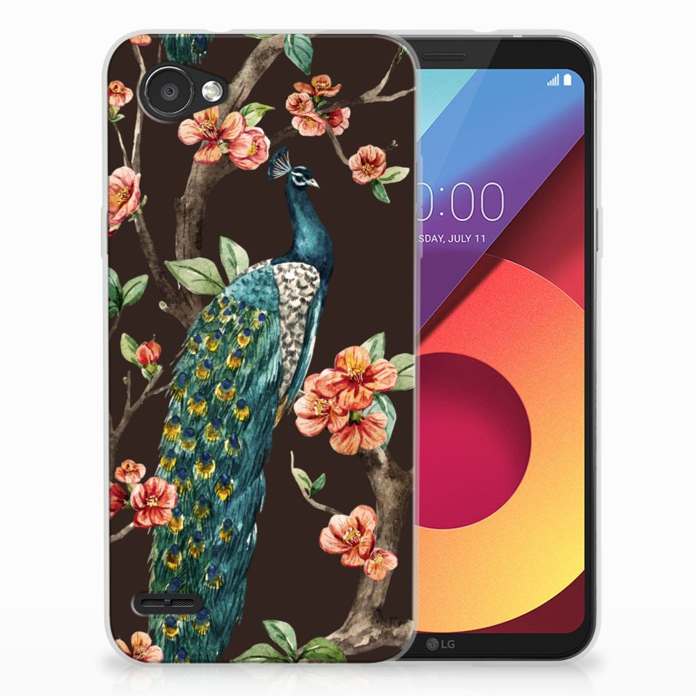 LG Q6 | LG Q6 Plus TPU Hoesje Design Pauw met Bloemen