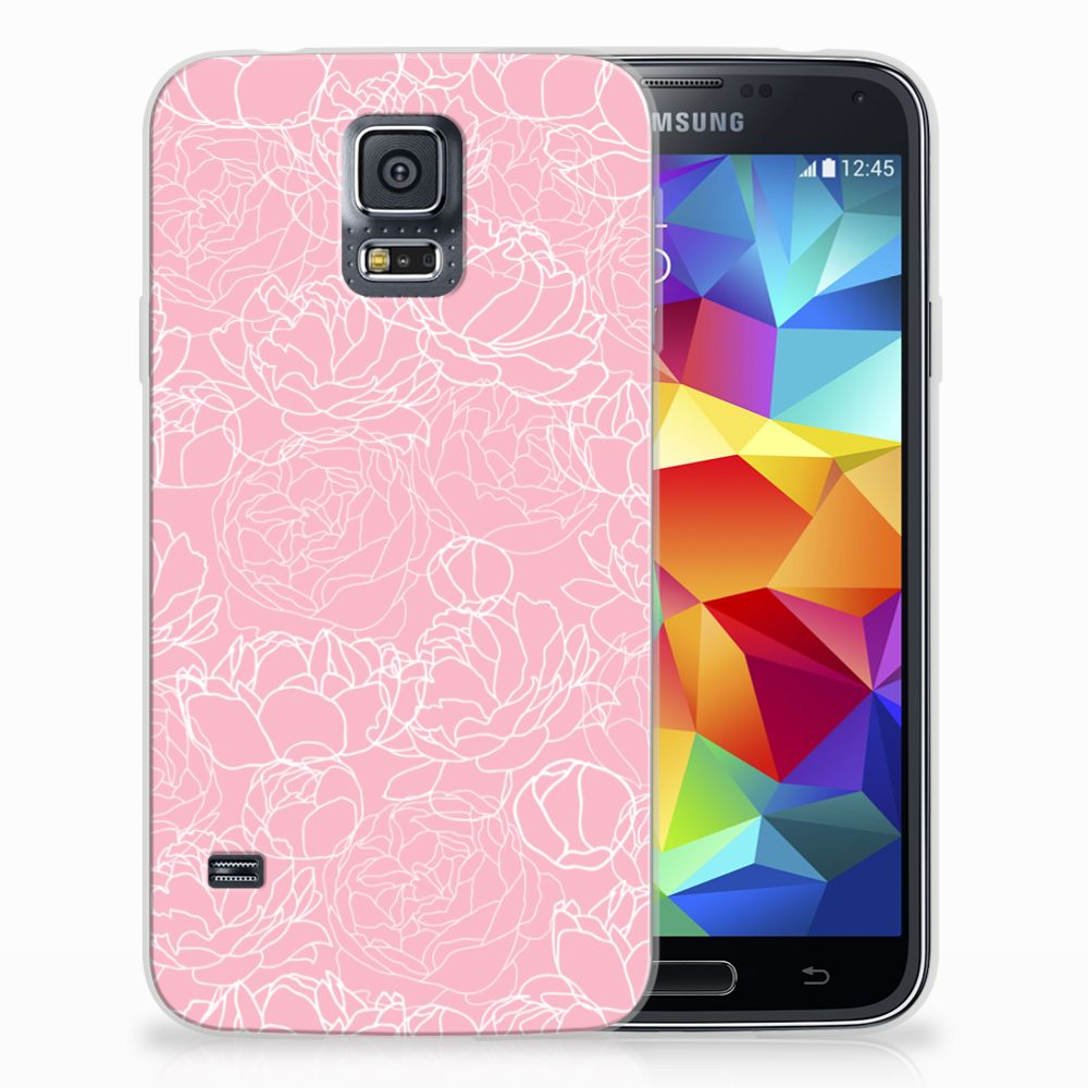 Samsung Galaxy S5 Siliconen Hoesje White Flowers
