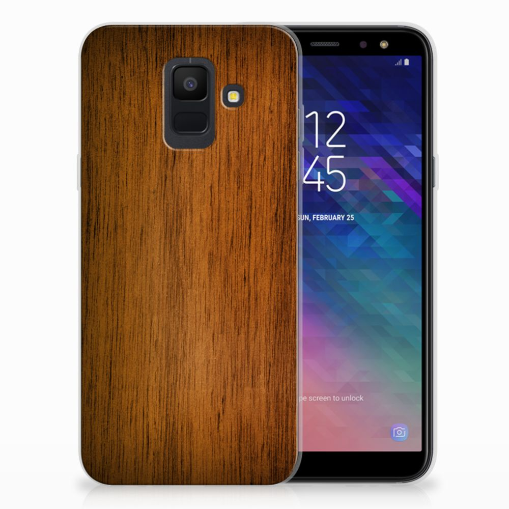 Samsung Galaxy A6 (2018) Bumper Hoesje Donker Hout