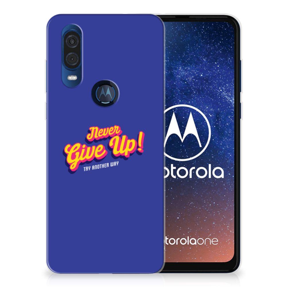 Motorola One Vision Siliconen hoesje met naam Never Give Up