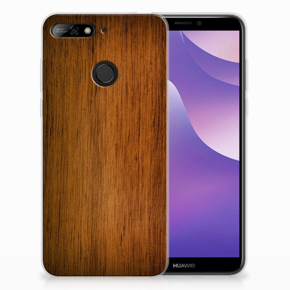 Huawei Y6 (2018) Uniek TPU Hoesje Donker Hout