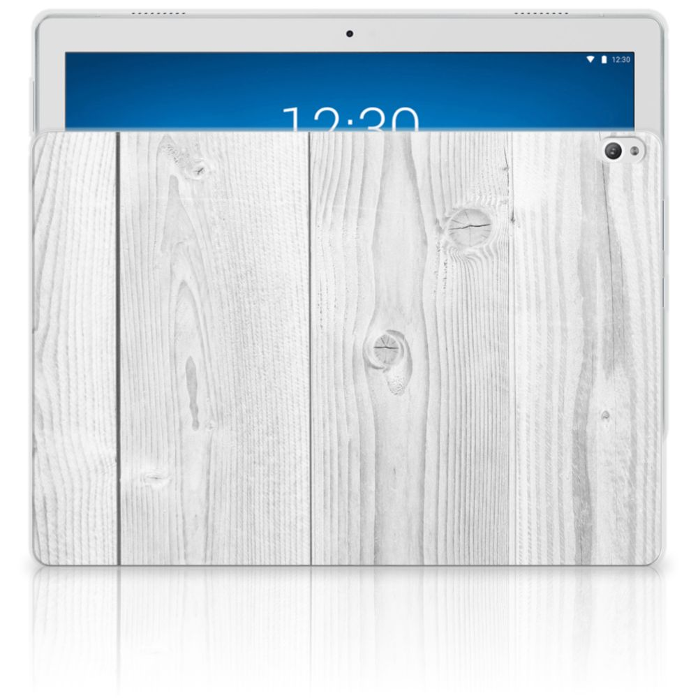 Lenovo Tab P10 Silicone Tablet Hoes White Wood